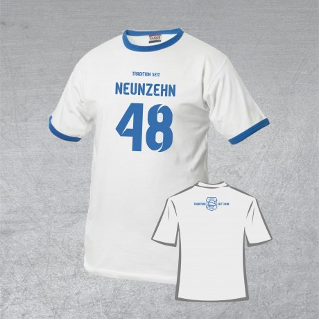 """BSG Stahl Riesa Fanshirt """"Neunzehn 48"""" weiß/blau"""